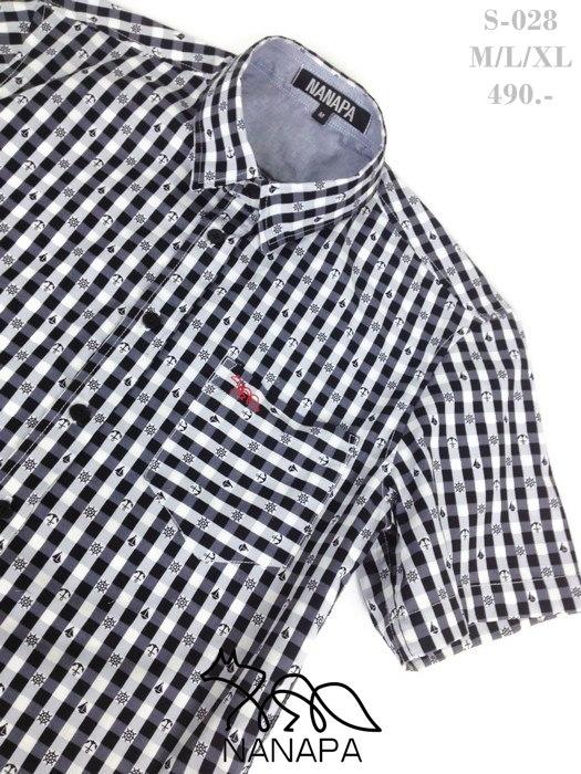 พรีออเดอร์ 7 วัน เสื้อเชิ้ตแขนสั้น ชาย NANAPA Shirts S-028