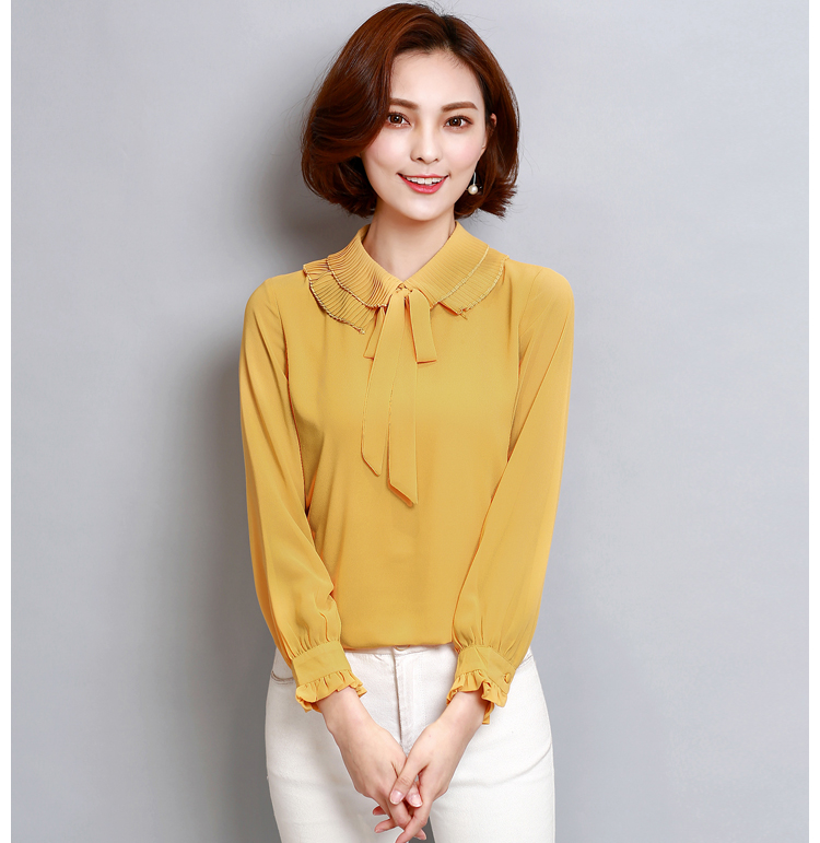 Preorder เสื้อทำงาน สีเหลืองขมิ้น คอแต่งระบายพร้อมโบว์ผูกน่ารัก