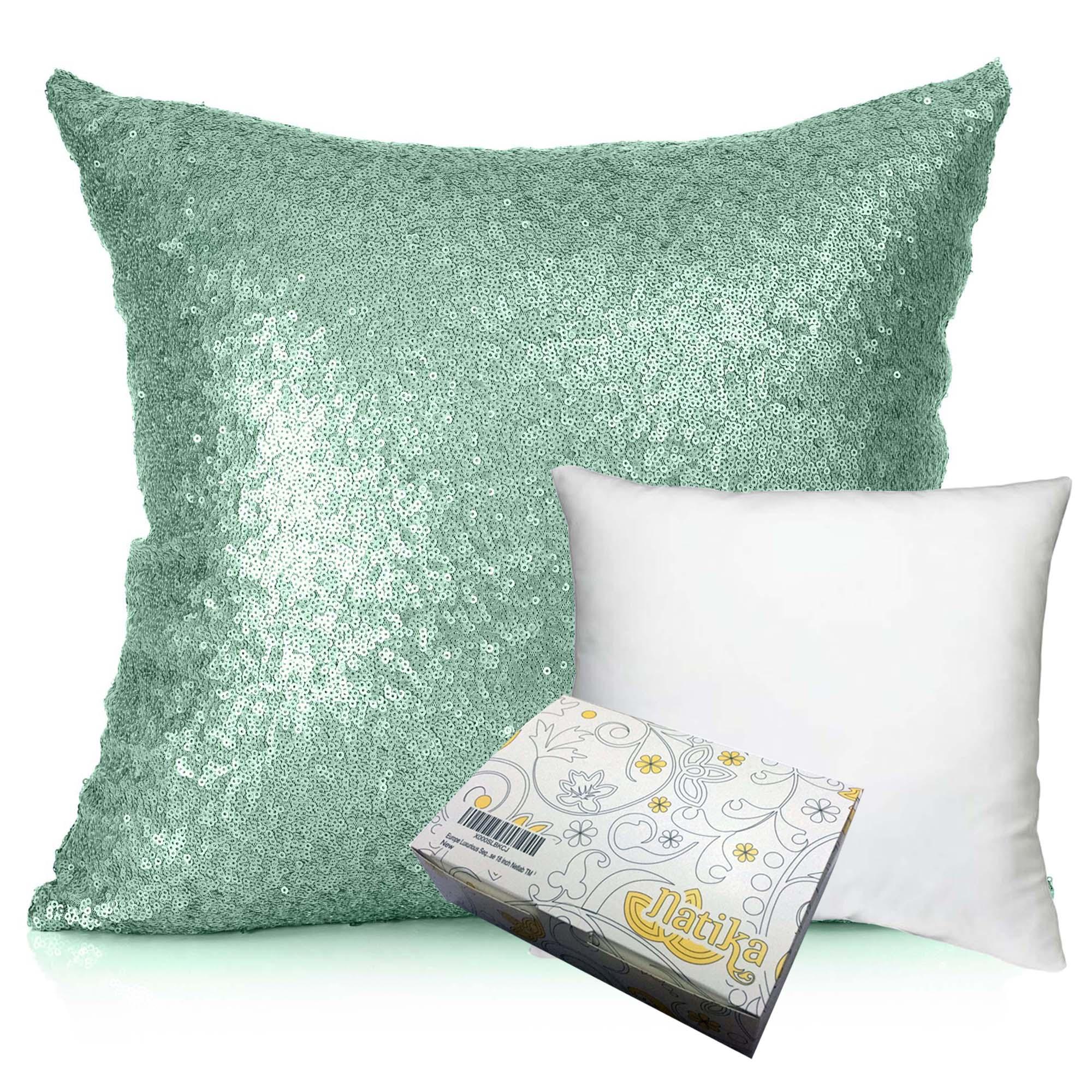 หมอนอิง Sequin Pillow Cushion Cover Pillow Case ขนาด 18 x 18 นิ้ว (สีหยกเทา)