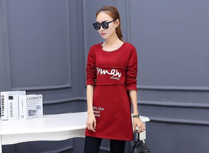 เสื้อยืดแฟชั่นแขนยาว ผ้าหนานิ่มด้านในกำมะหยี่ สีแดง