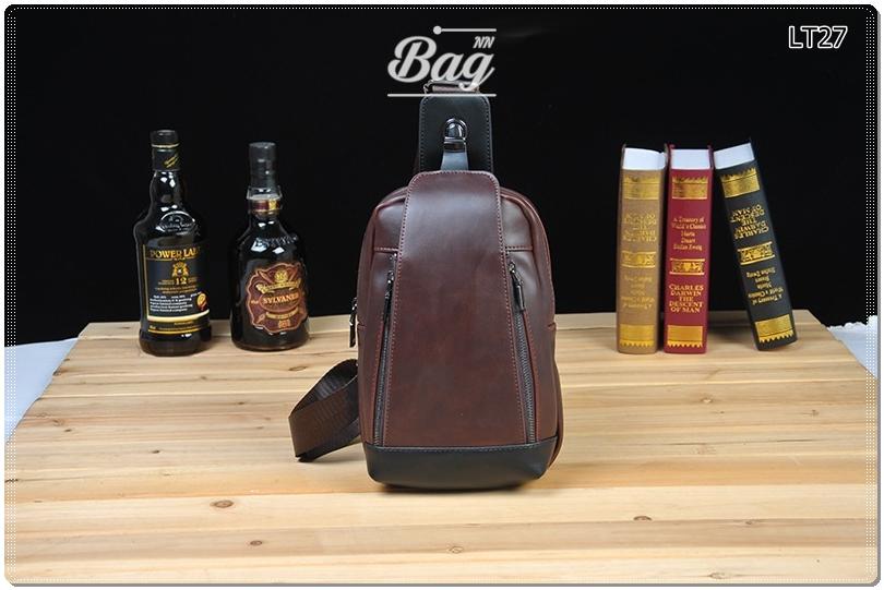 กระเป๋าสะพายไหล่ กระเป๋าคาดอก หนัง Crazy Horse PU | LT27