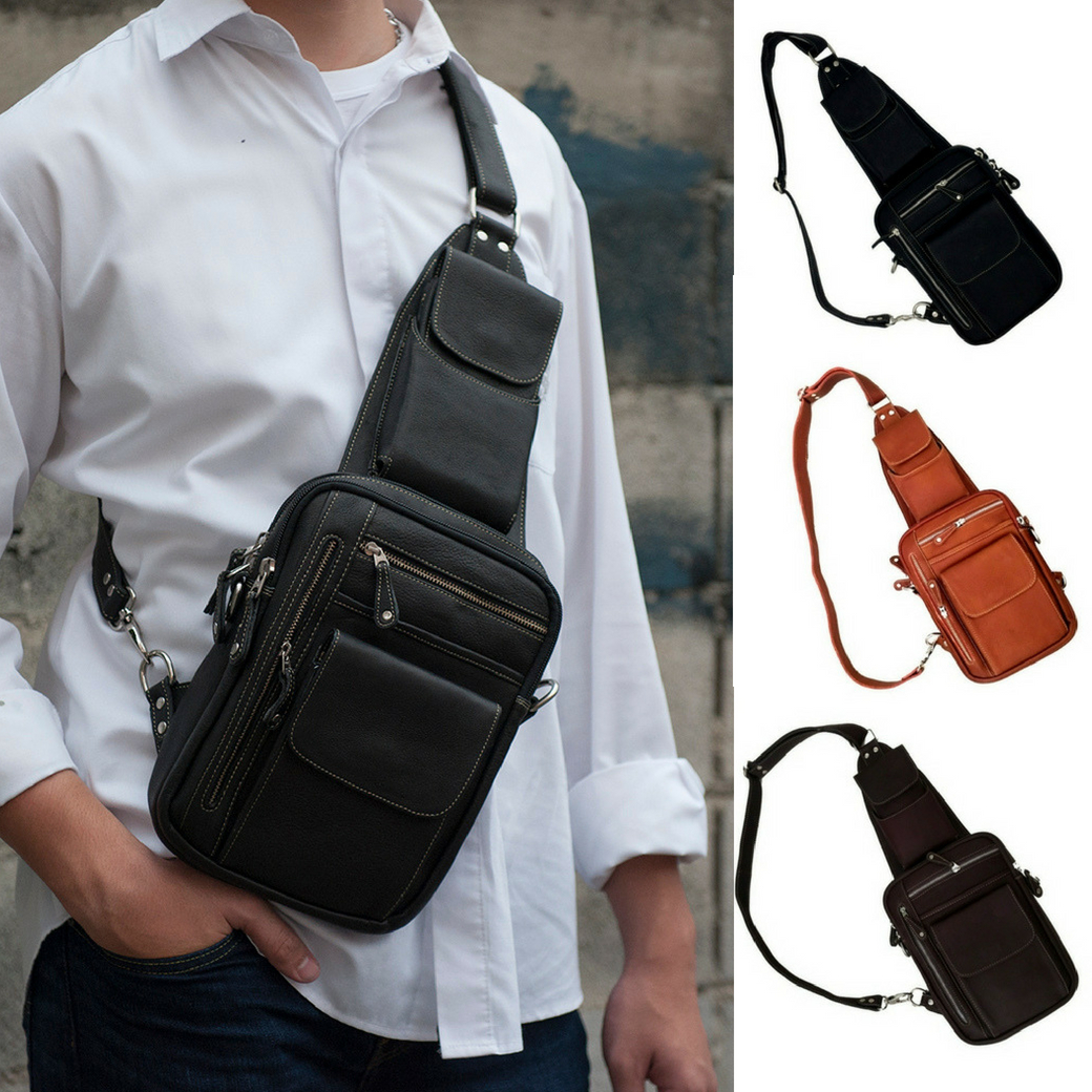 กระเป๋าสะพายเฉียง กระเป๋าคาดอก หนังแท้ ช่องใส่อุปกร์มากถึง 8 ช่อง สามารถใส่โทรศัพท์ ไอแพท ปืนพกสั้นได้ สำหรับผู้ชาย