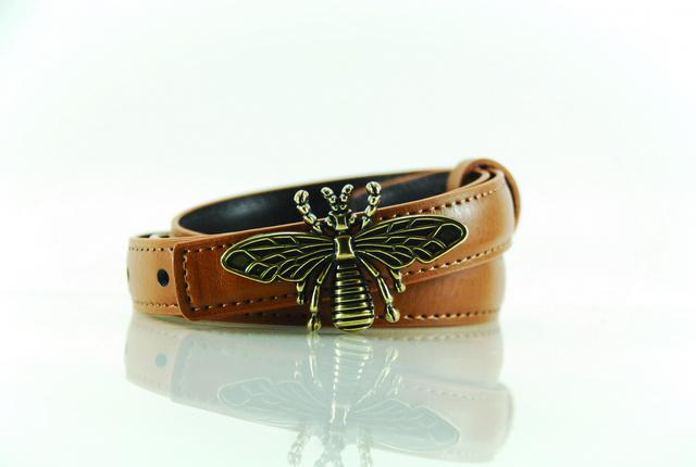 Dragonfly collection เข็มขัดผู้หญิงหนังแท้ - สีน้ำตาล