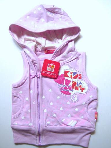 KWG198L Kidsplanet เสื้อแจคเก็ตกันหนาวเด็กหญิง สีม่วง แขนกุดมีฮู้ดซิปหน้า สกรีนลายหัวใจ Kidsplanet Light & Fastastic Size 3Y