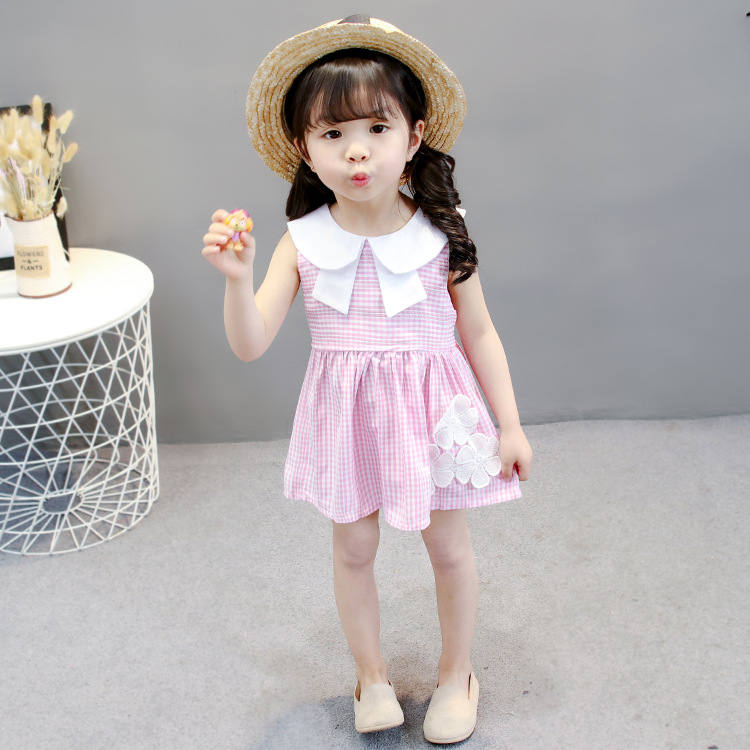ชุดเดรสลายสก็อตสีชมพูปกคอสีขาวแต่งดอกไม้ที่ชายกระโปรง แพ็ค 4 ชุด [size 6m-1y-18m-2y]