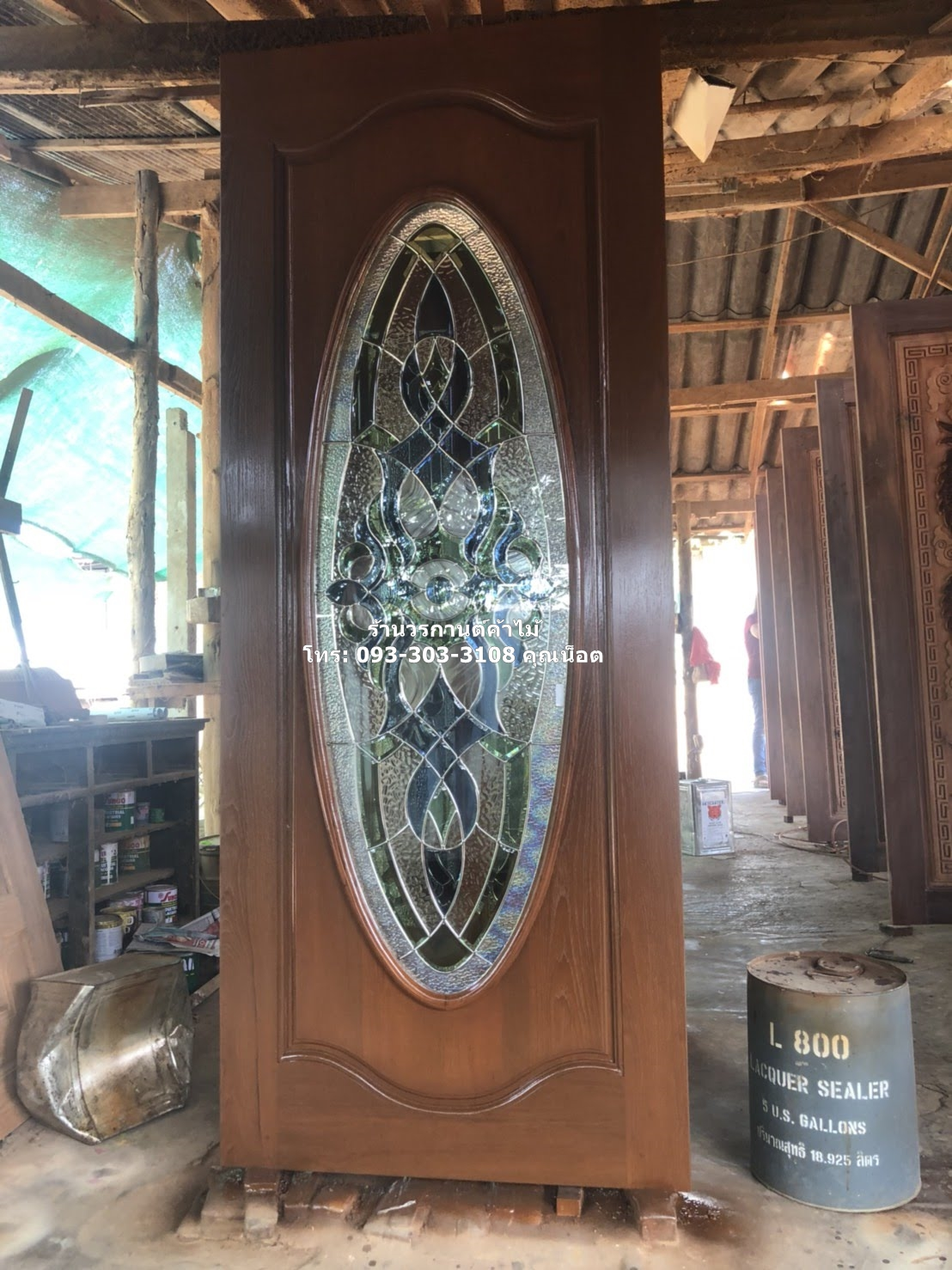 ประตูไม้สักกระจกนิรภัย ชุด4ชิ้น รหัส AAA162
