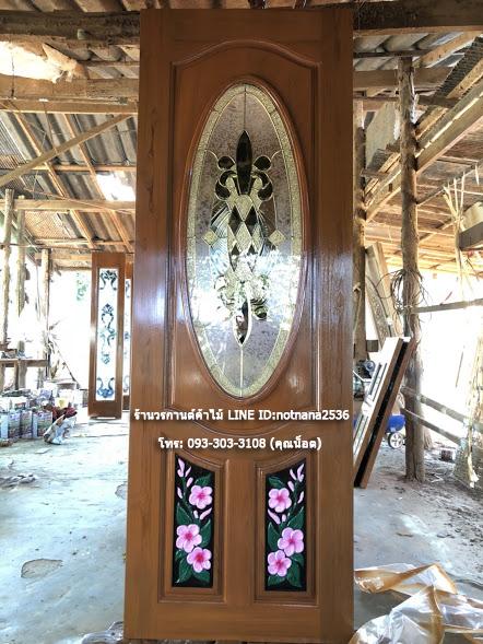 ประตูไม้สักกระจกนิรภัยวงรี แกะลีลาวดี รหัส AAA132