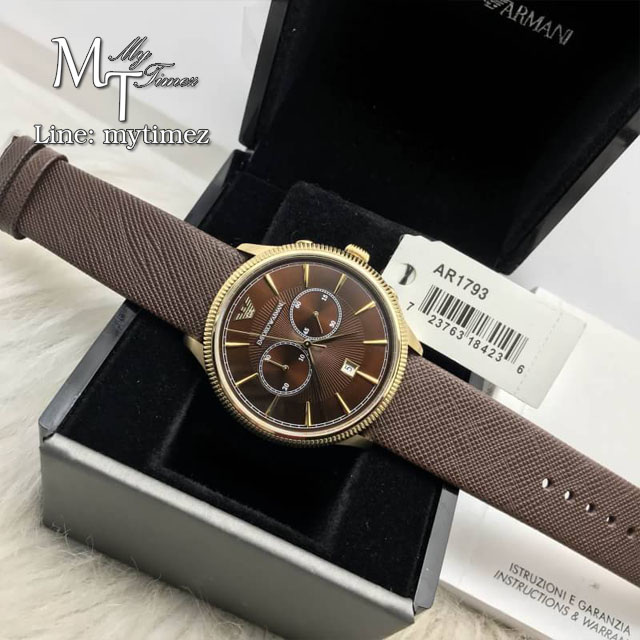EMPORIO ARMANI Classic Chronograph Brown Dial Brown Leather Men's Watch AR1793