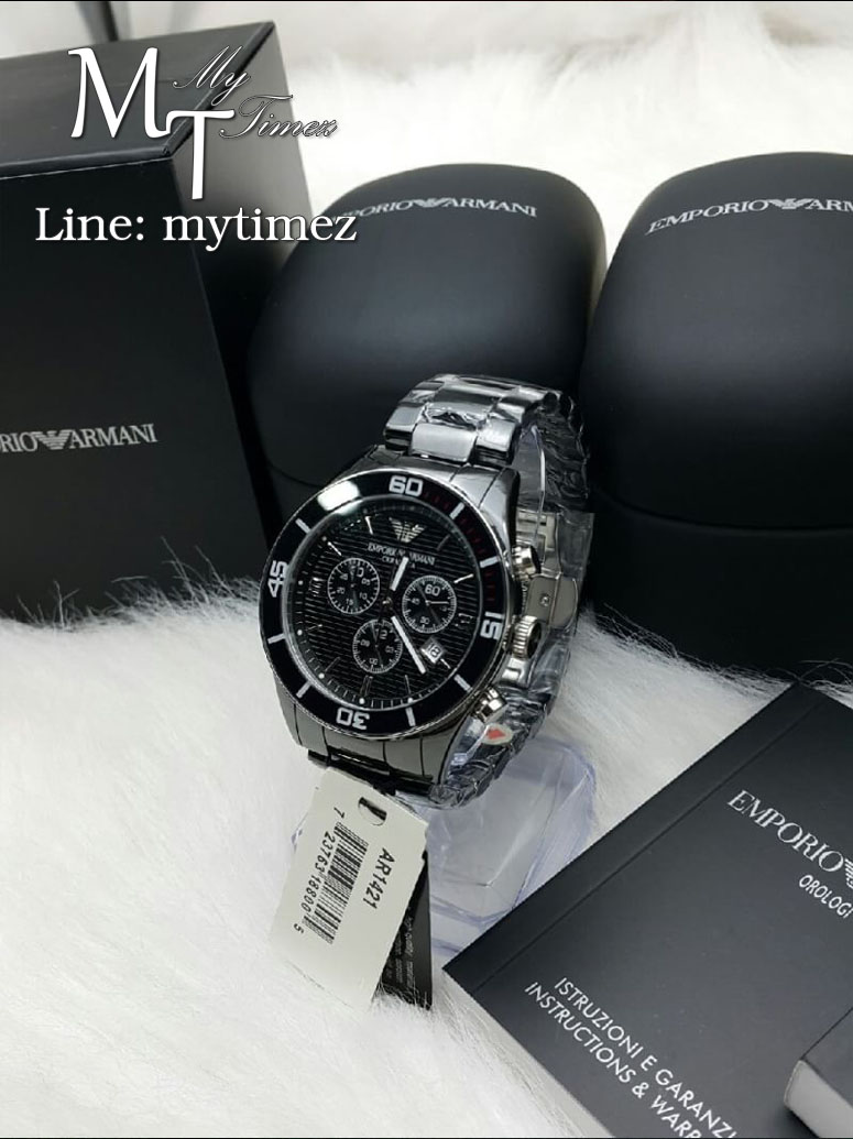 นาฬิกาข้อมือ Emporio Armani Men's Black Ceramic Chronograph AR1421