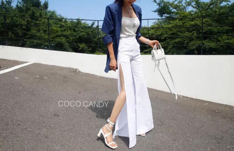 กางเกงผ่าข้าง Korea Slit-hem Pants สีขาว