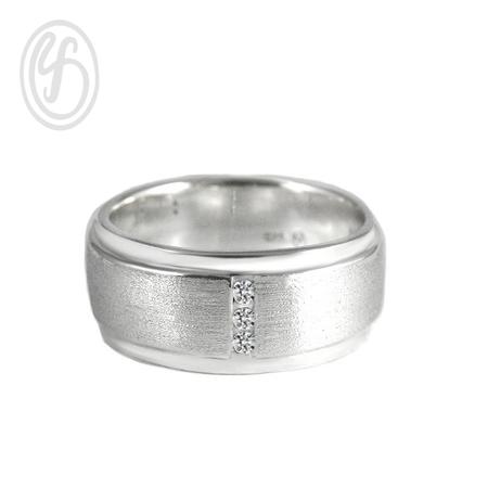 แหวนเงินผู้ชาย เงินแท้ ฝังเพชรสังเคราะห์ cz เกรด AAA เหมาะเป็นของขวัญในวันพิเศษ แหวนหมั้น แหวนแต่งงาน