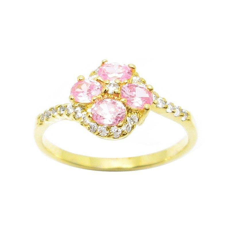 แหวนดอกไม้เพชรชมพูประดับเพชรชุบทอง