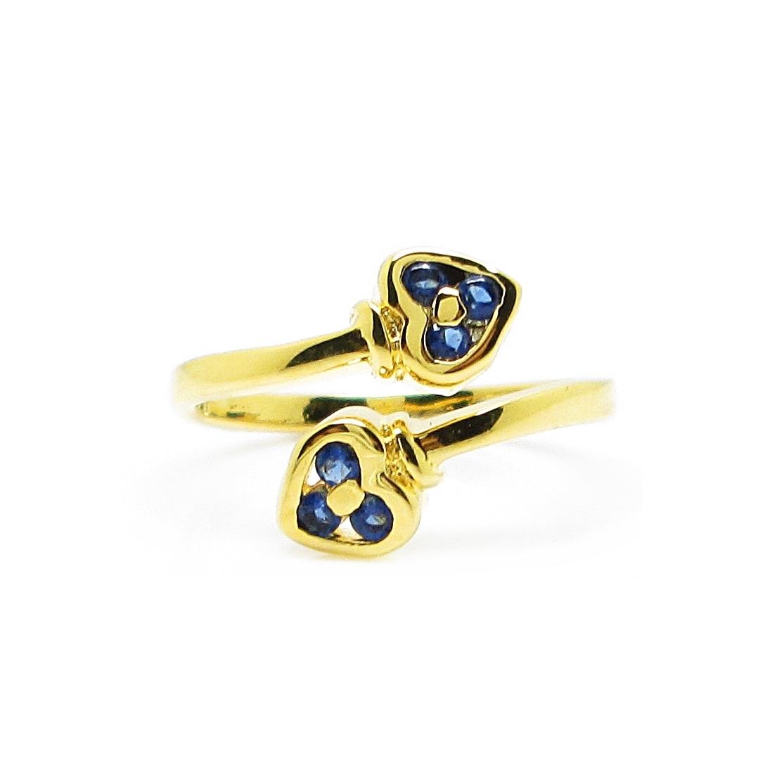 แหวนฟรีไซส์หัวใจประดับพลอยไพลินชุบทอง