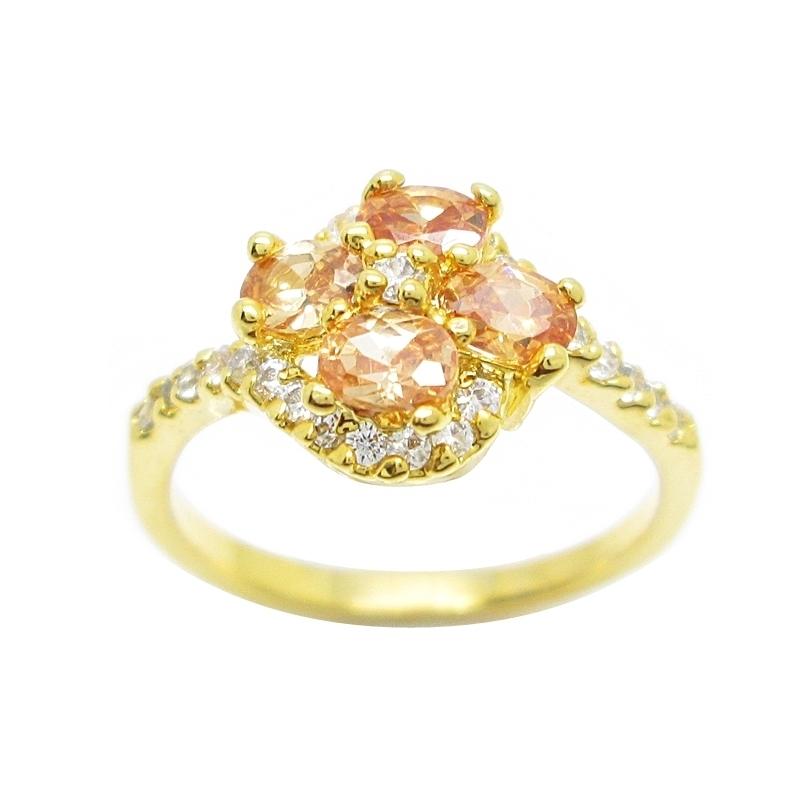 แหวนดอกไม้พลอยแชมเปญประดับเพชรชุบทอง