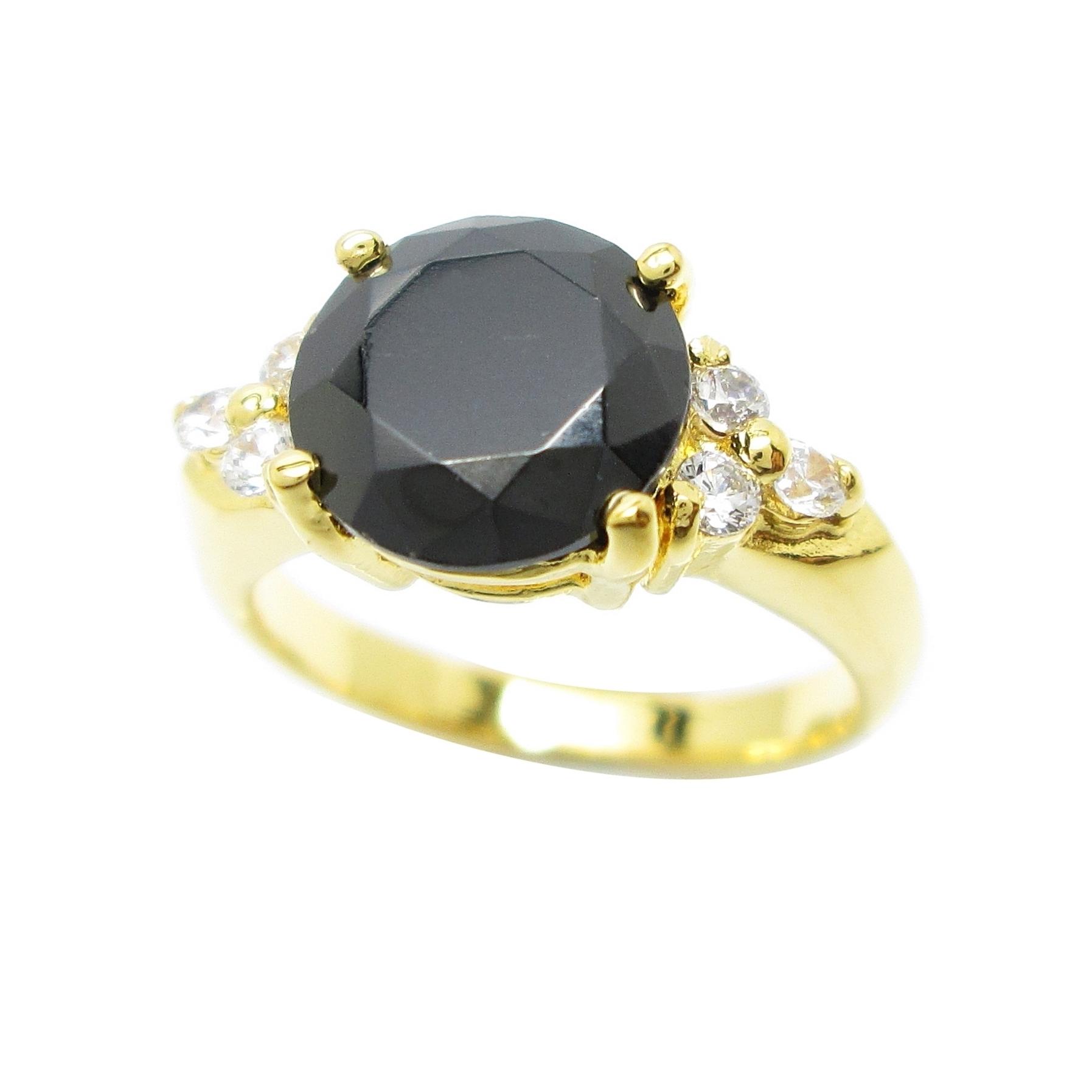 แหวนพลอยสีนิลประดับเพชรชุบทอง