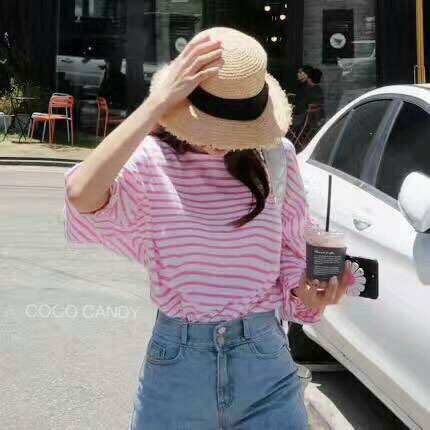 เสื้อแฟชั่น Korea BalloonSleeves Oversize Stripe Top