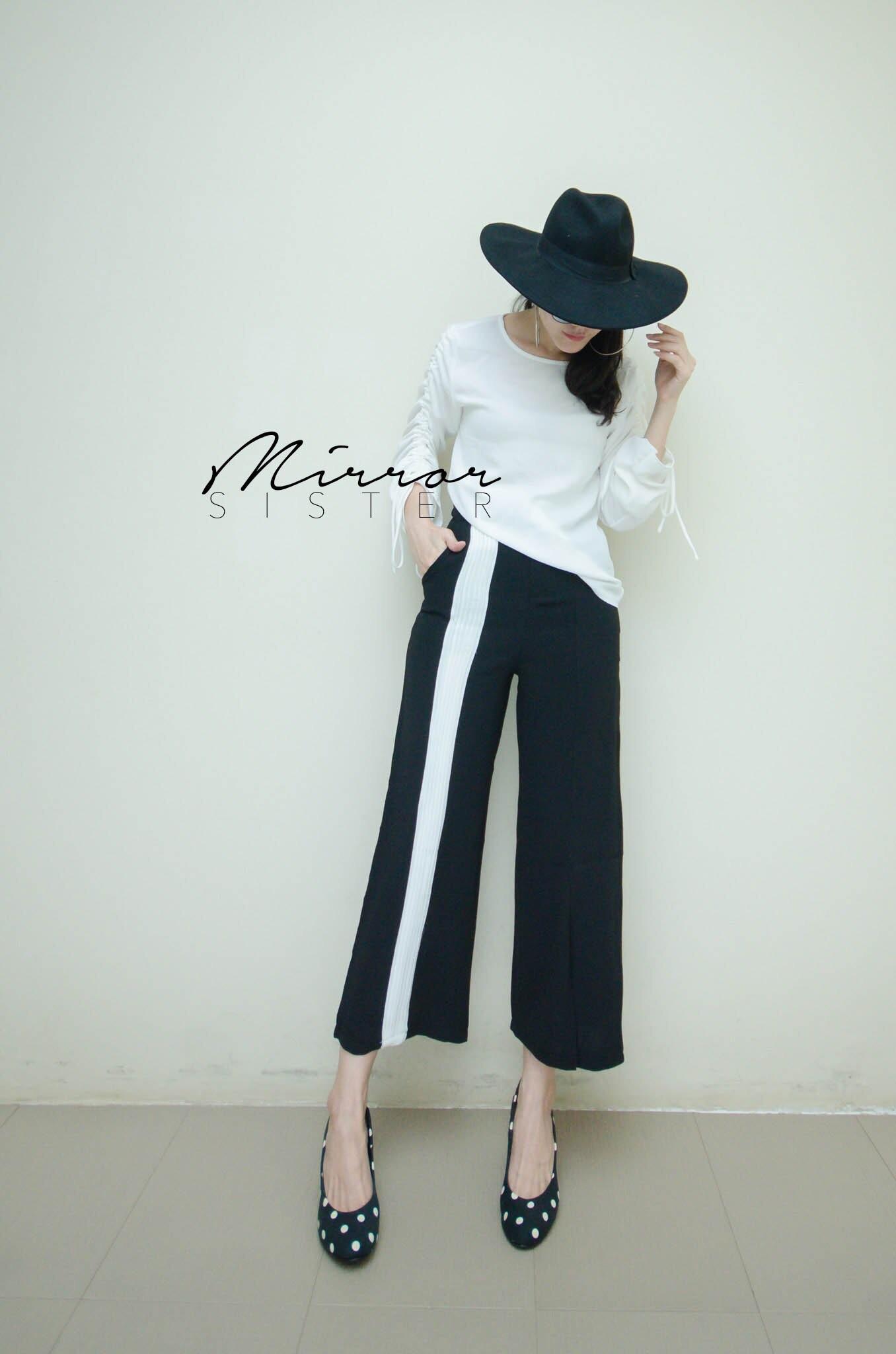 กางเกงเอวสูงแฟชั่น สีดำ