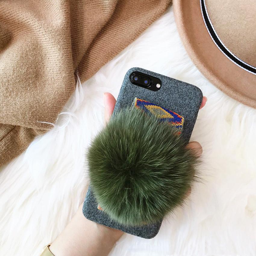 เคส iPhone ปอมปอม สีน้ำเขียว