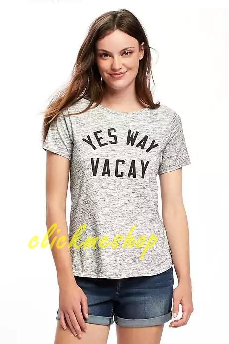 ( ไซส์ L หน้าอก 42-44 นิ้ว) เสื้อยืด สีเทา ยี่ห้อ Oldnavy สกรีนลาย yes way