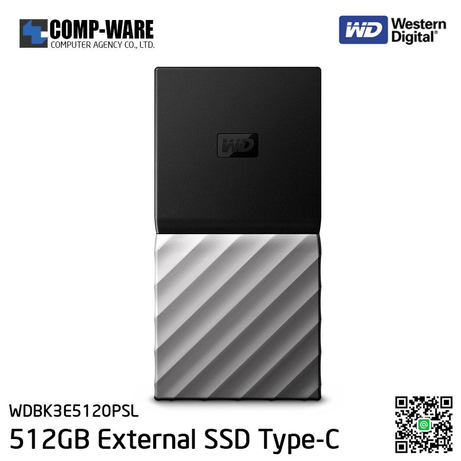 WD 512GB MY PASSPORT SSD Portable Storage - USB 3.1 (Type-C) - Black-Gray - WDBK3E5120PSL