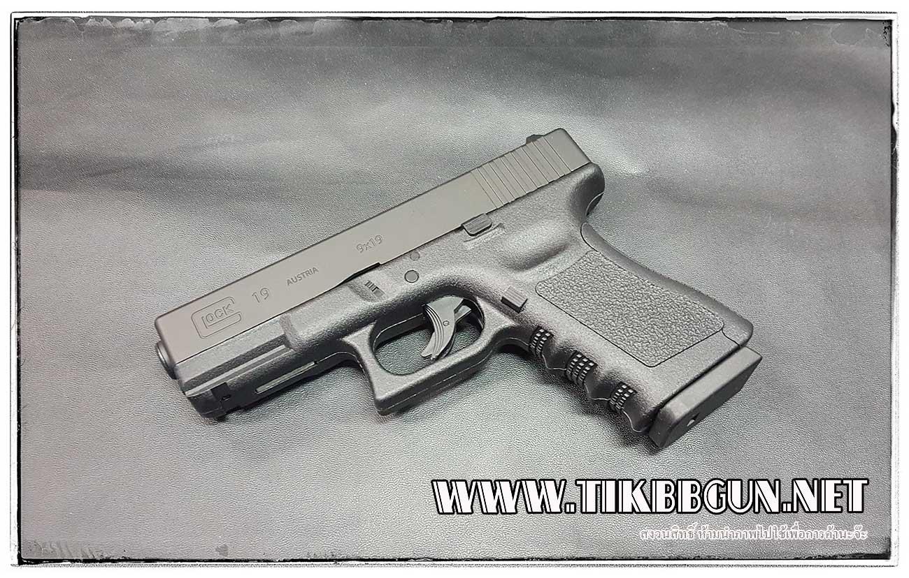 ปืนอัดลม (ปืนระบบแก๊ส Co2) รุ่น Glock19 ไม่โบลว์แบล็ค Classic Gun