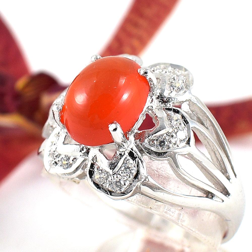 แหวนพลอยผู้หญิงเงินแท้ 92.5 เปอร์เซ็น ฝังด้วยพลอยคาร์เนเลียนแท้