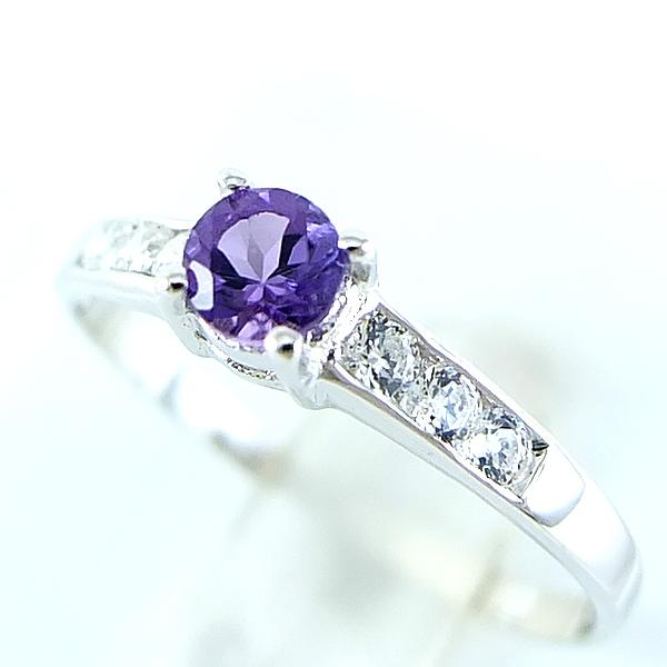 แหวนพลอยผู้หญิงเงินแท้ 92.5 เปอร์เซ็น ฝังด้วยพลอยแอมิทิสต์แท้