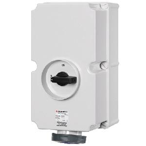ปลั๊กตัวเมียแบบติดผนัง Receptacles switch DUO interlock IP67 125Amp ขั้ว 2P+E 230V