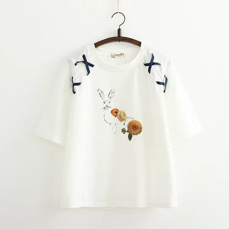 พร้อมส่ง เสื้อยืดสีขาวสกรีนลายน่ารักๆค่ะ