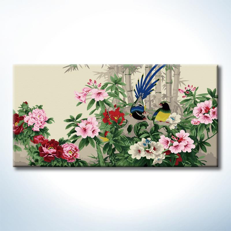 """TS038 ภาพระบายสีตามตัวเลข """"คู่ไก่ฟ้ากลางพุ่มดอกไม้"""""""