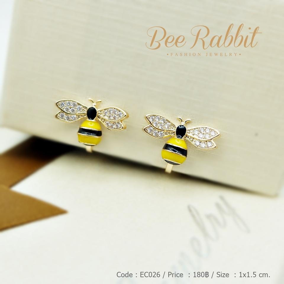 ต่างหูหนีบรูปผึ้ง งานเคลือบอินาเมล ฝังเพชร