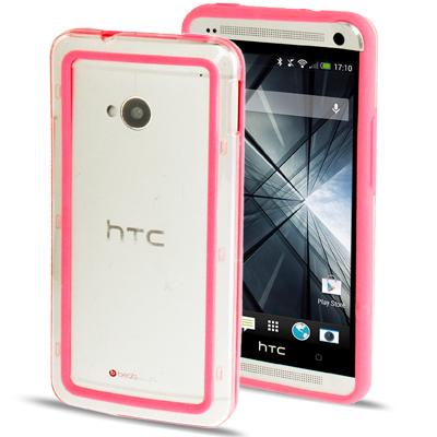 Case เคส TPU + Transparent Plastic Bumper Frame HTC One M7 (Magenta)