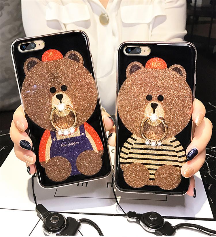 (025-520)เคสมือถือ Case OPPO R11 Plus เคสนิ่มลายหมี พร้อมสายคล้องคอแบบถอดแยกได้