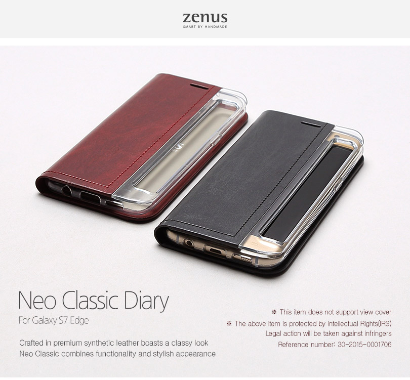 Zenus : Neo Classic Diary, Carrying Case For Galaxy S7 Edge