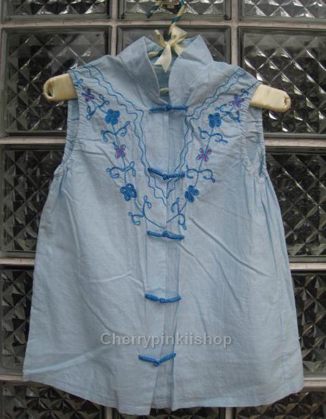 เสื้อคอจีน สีฟ้า ผ้า cotton ปักลวดลายดอกไม้สวย ใส่สบาย Made in Hongkong