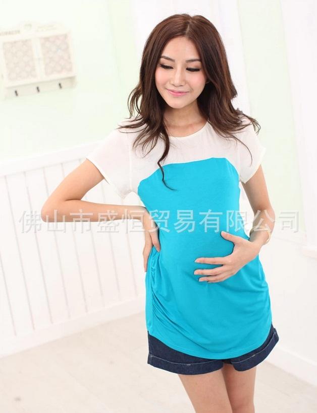 c1320 เสื้อคลุมท้อง ด้านบนสีขาว ด้านล่างสีฟ้า