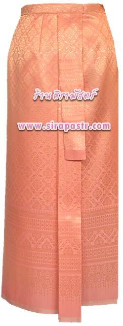 ผ้าถุงป้าย-หน้านาง N5-1A สีส้ม (เอวใส่ได้ถึง 26 นิ้ว) *แบบสำเร็จรูป-รายละเอียดตามหน้าสินค้า