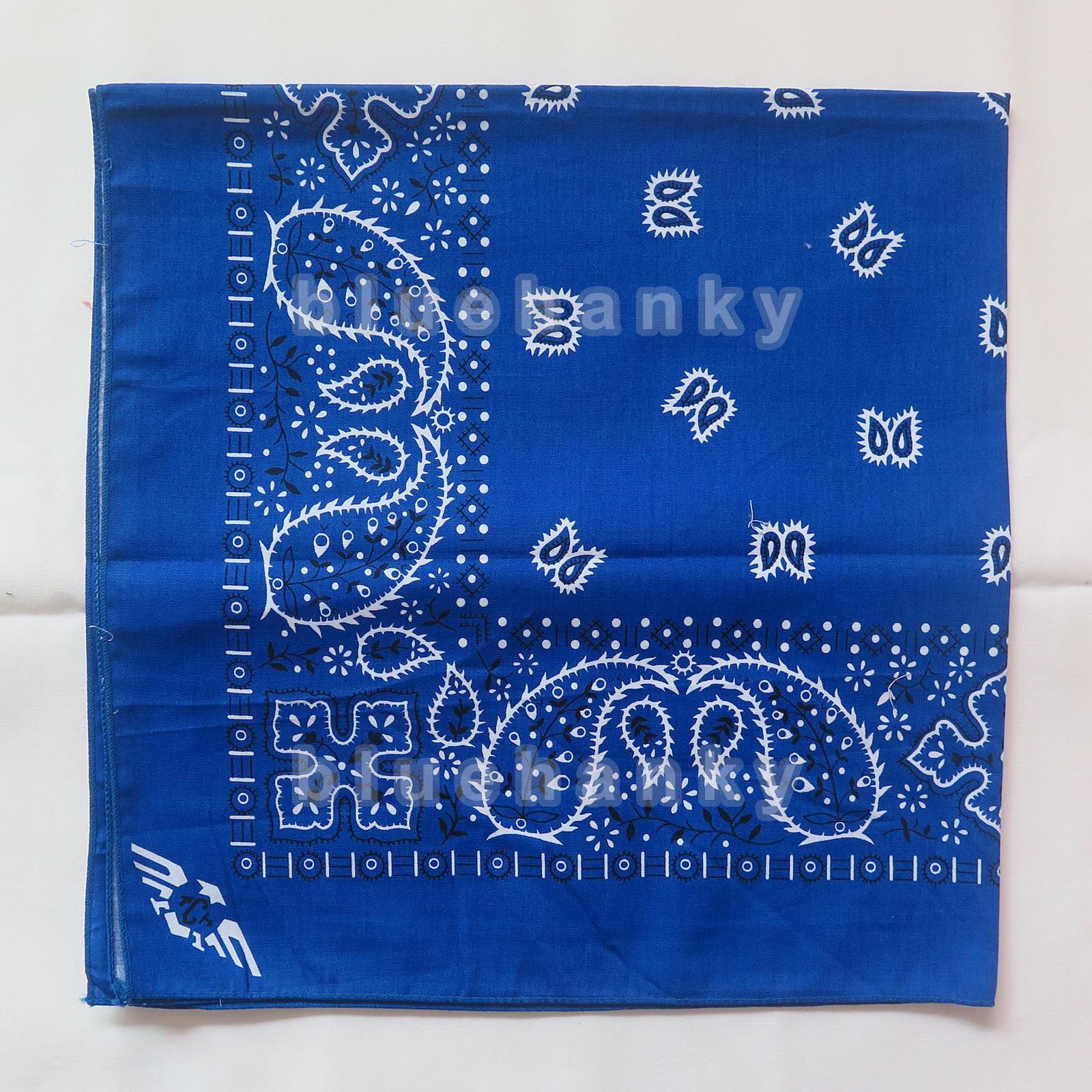 ผ้าพันคอBandannasไซส์บิ๊ก 28นิ้ว สีน้ำเงิน