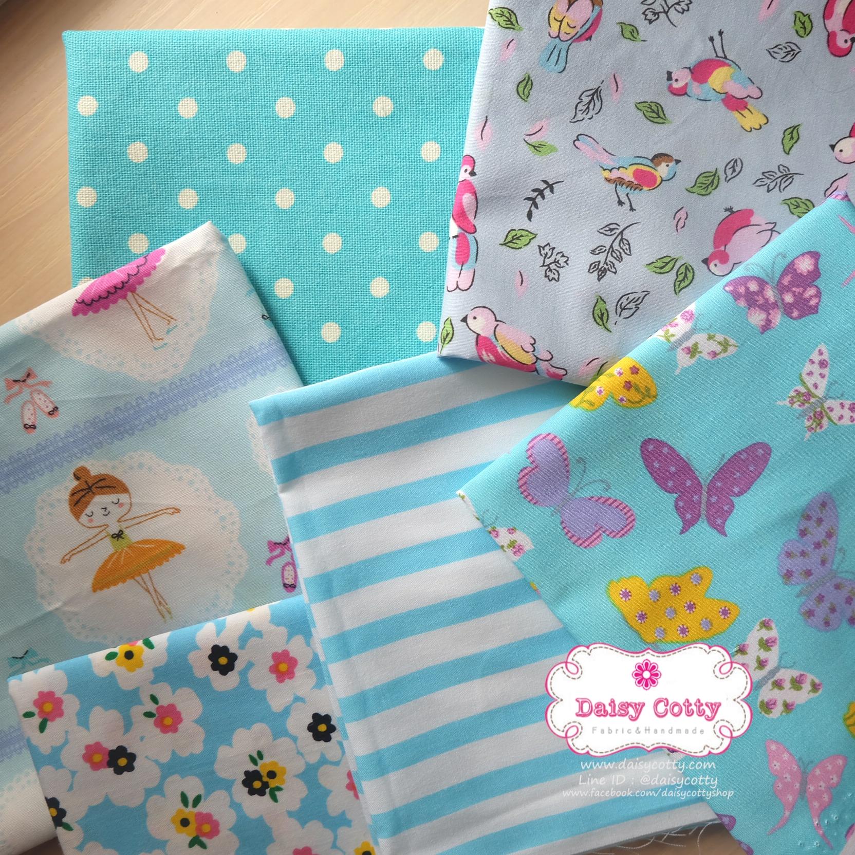 Set 6 ชิ้น : ผ้าคอตตอนไทย 5 ลายและผ้าแคนวาสลายจุด โทนสีฟ้า ชิ้นละ1/8 ม.(50x27.5ซม.)