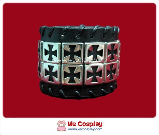 สร้อยข้อมือพังค์ Punk Wristband ลายไม้กางเขน 2 แถว สีเงิน