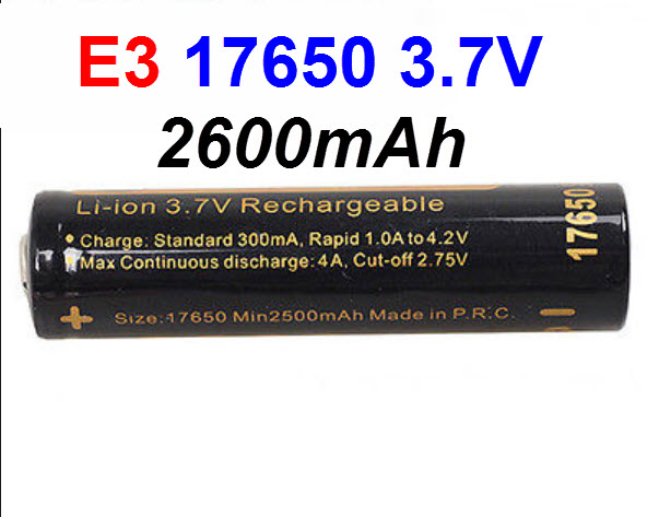 e3 Li-ion 17650 2600mAh 3.7V Protected Battery by Soshine