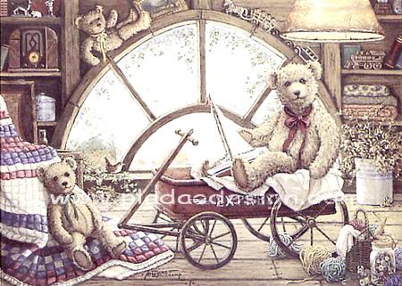 กระดาษสาพิมพ์ลาย rice paper เป็น กระดาษสา สำหรับทำงาน เดคูพาจ Decoupage แนวภาพ น้องหมี เท็ดดี้ แบร์ teddy bear 2ตัว นั่งเล่น ชมวิวกันบนรถเข็นในบ้าน (pladao design)