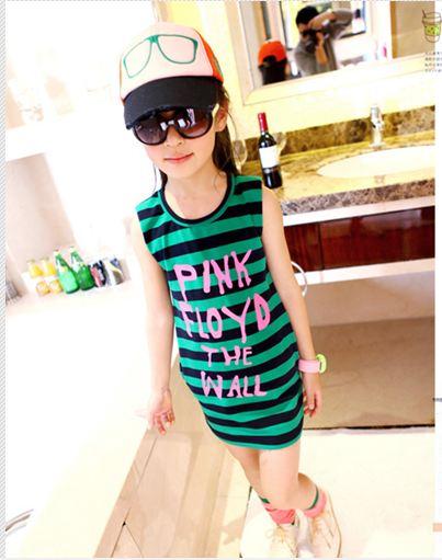 ชุดเดรสแฟชั่นเด็ก ลายริ้วสีเขียว-ดำ น่ารักสไตล์เกาหลี ขนาด5-7-9