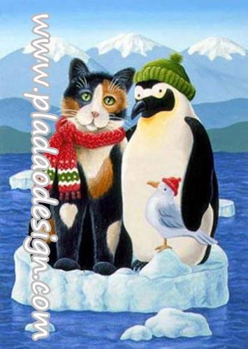 กระดาษสาพิมพ์ลาย สำหรับทำงาน เดคูพาจ Decoupage แนวภาพ พี่แมวสีสวยตัวเดิมไปถ่ายรูปกะเจ้าเพนกวิน