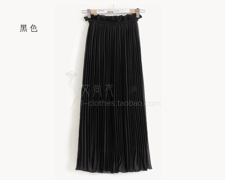 กระโปรงพลีท ผ้าชีฟองเนื้อบางเบา ยาว 82 cm. ฟรีไซส์ สีดำ