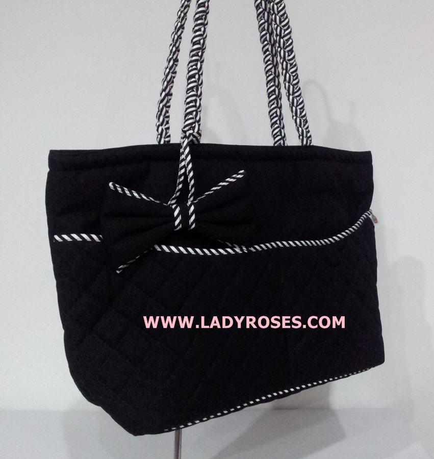 กระเป๋าสะพาย นารายา ผ้าคอตตอน นาโน สีดำ ขอบขาว-ดำ สายหิ้ว หูเปีย (กระเป๋านารายา กระเป๋า NaRaYa กระเป๋าผ้า)