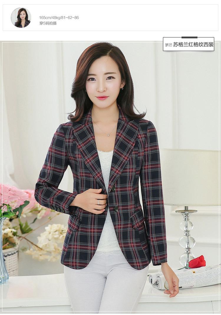 พรีออเดอร์ เสื้อสูทผู้หญิงวัยทำงาน ลายสก็อต แฟชั่นชุดทำงาน ผ้าโพลีอีสเตอร์ ลายสก๊อตเล็ก สไตล์เกาหลี