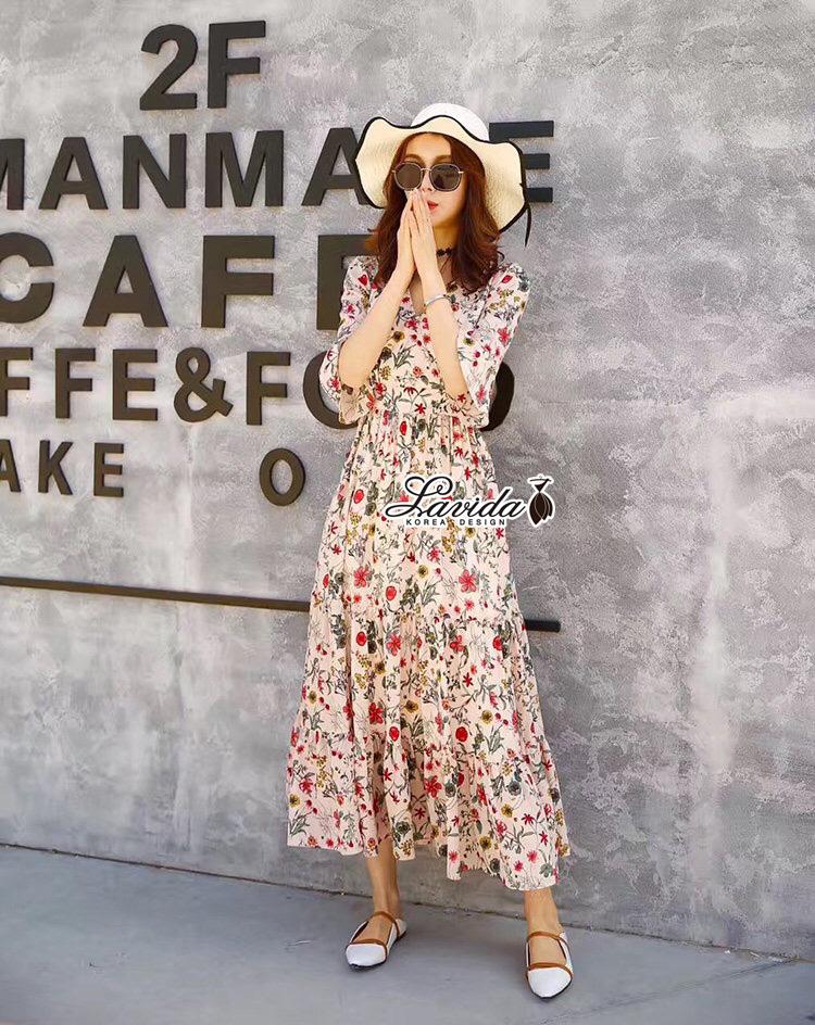 เดรสแฟชั่น Maxi Dress พิมพ์ลายดอกไม้เล็กๆทั้งชุดโทนสีสดใส