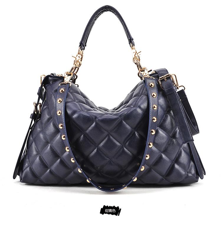 กระเป๋าแฟชั่นเกาหลี กระเป๋าแฟชั่นปักหมุด MAOMAOBAG ปั้มลายตารางสี่เหลี่ยมใหญ่สีน้ำเงิน