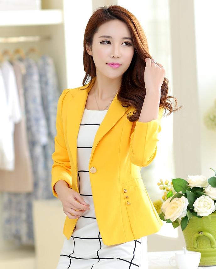Pre-Order เสื้อสูทแฟชั่น สีเหลือง ปกสูท ติดกระดุมเม็ดเดียว เสื้อสูทเข้ารูปสุดหรู ใส่ทำงานได้
